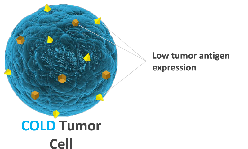 Cold Tumor Cell illustration with label point out the Low tumor antigen expression